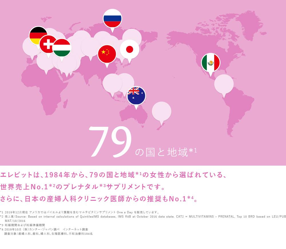 エレビットは、1984年から、79の国と地域*1の女性から選ばれている、世界売上No.1*2のプレナタル*3サプリメントです。