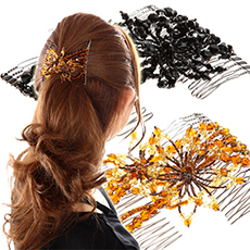 美人髪 綺羅びやかで華奢なデザインが人気♪ツインコーム Lタイプ フローラルグラス