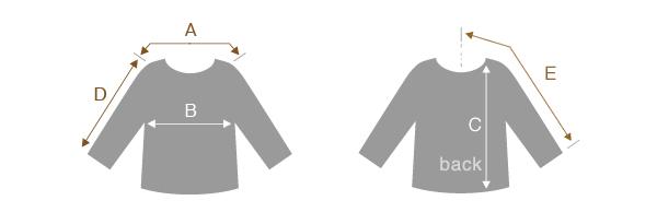 トップス・アウターのサイズの測り方