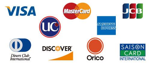 VISA,MasterCard,JCB,UC,AmericanExpressなど、多くのクレジットカードが使えます。