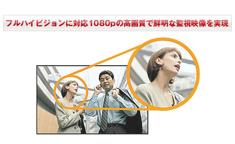 フルハイビジョンに対応1080pの高画質で鮮明な監視映像を実現