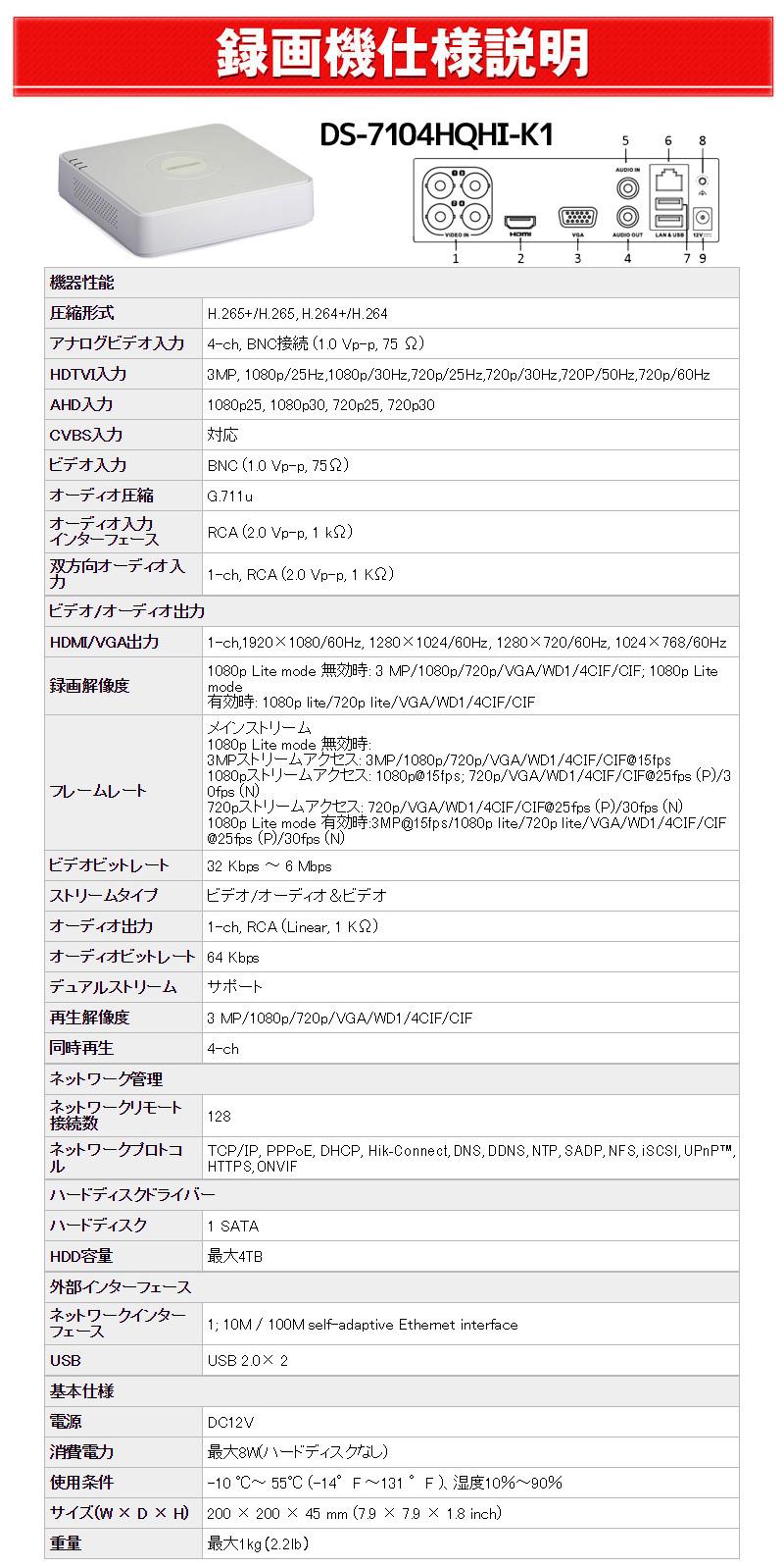 録画機使用説明 4CH TVI DS-7204HQHI-F1/N
