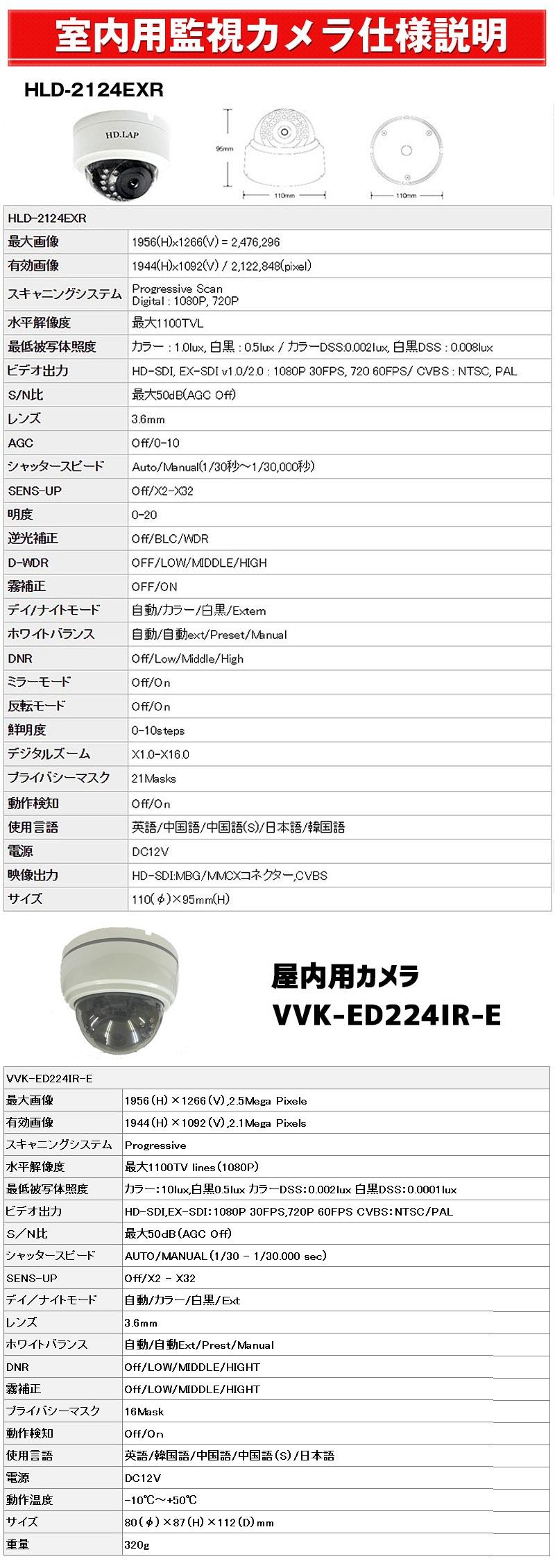 室内用監視カメラ 仕様説明 HLD-2124EXR