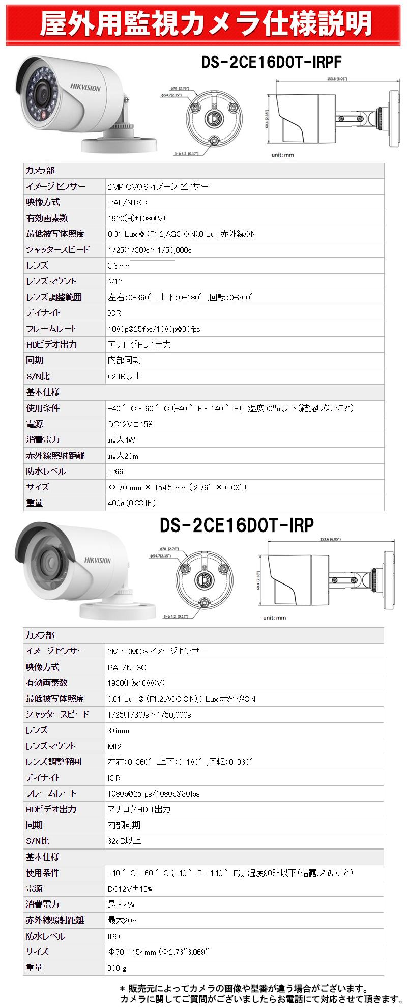 屋外用監視カメラ 仕様説明 DS-2CE16D0T-IRP