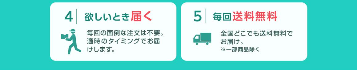 4.欲しいとき届く、5.毎回送料無料
