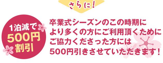 1泊減で500円OFF
