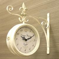 アンティーク風両面時計 ステーションクロック - L サイズ / ホワイト
