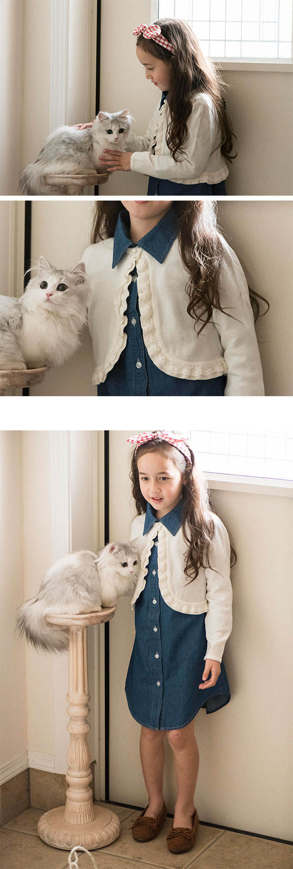 女の子 子供 羽織り ニット カーディガン 白 白カーデ