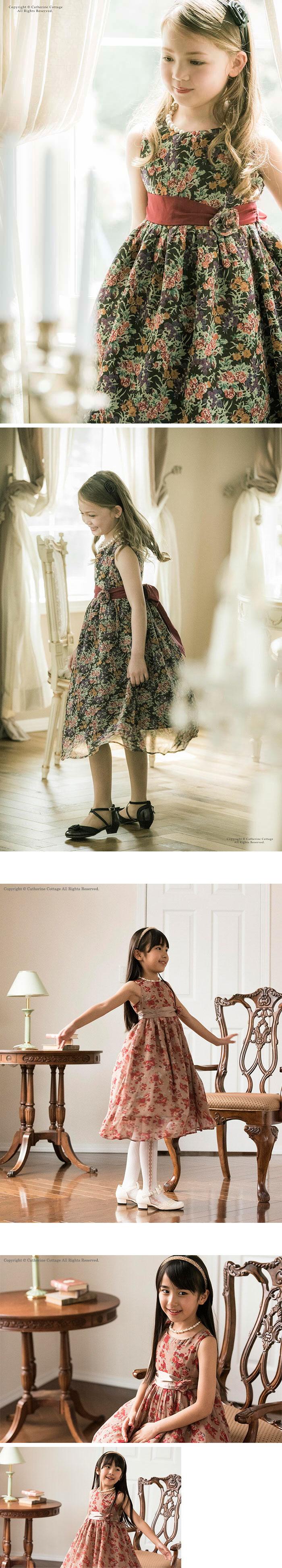 ピアノの発表会 ワンピース 花柄ドレス シフォンドレス