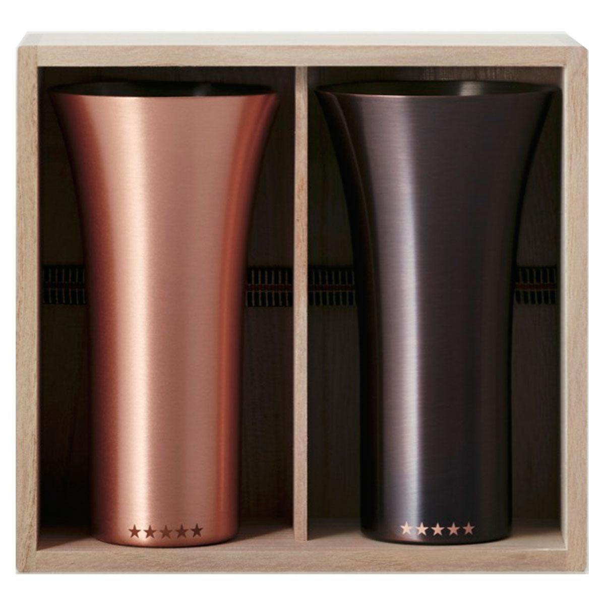 銅製タンブラー WDH 純銅製タンブラー 2個セット 銅製ビールグラス 銅製ビアグラス 銅製カップ ダブリューディーエイチ 銅製タンブラー 380ml マット&ブラウン 限定販売品
