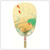 水うちわ 金魚(化粧箱入/美濃手漉き雁皮紙使用)