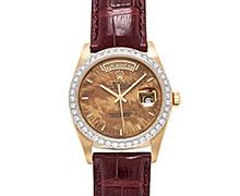 ロレックスデイデイト Ref.18048 ウォールナットダイアル ホワイトゴールド製ダイヤモンド入りベゼル 1981年