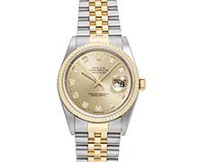 ロレックスデイトジャスト Ref.16233G コンビ SS/YG ダイヤモンド入りシャンパンゴールドダイアル 1996年 T番 ネバーポリッシュ