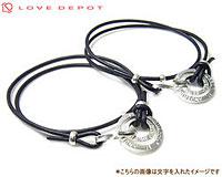 LOVE DEPOT (ラヴディーポ) シルバー950 2連リングx二重巻きレザー(革)ペアブレスレット DPB01-001Cx2-BK