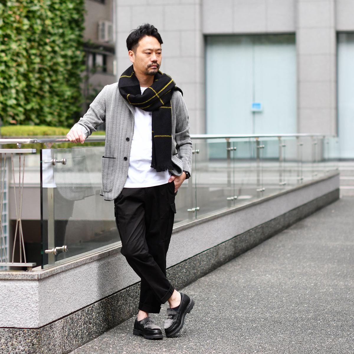 Finjack【フィンジャック】ヘリンボーンニットジャケット MONOPETTO ART03 01 ポリエステルウール グレー