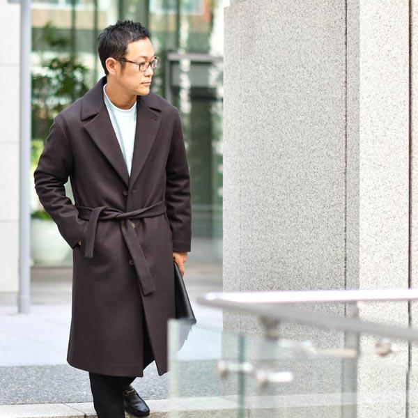 HEVO【イーヴォ】シングルベルテッドコート OSTUNI 1205-OSTU725K 2449 ウールナイロン ブラウン