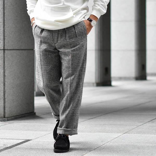 BERNARD ZINS【ベルナール ザンス】ツープリーツパンツ BACJ 74216 199 グレンプレイド ウール ブラックホワイト