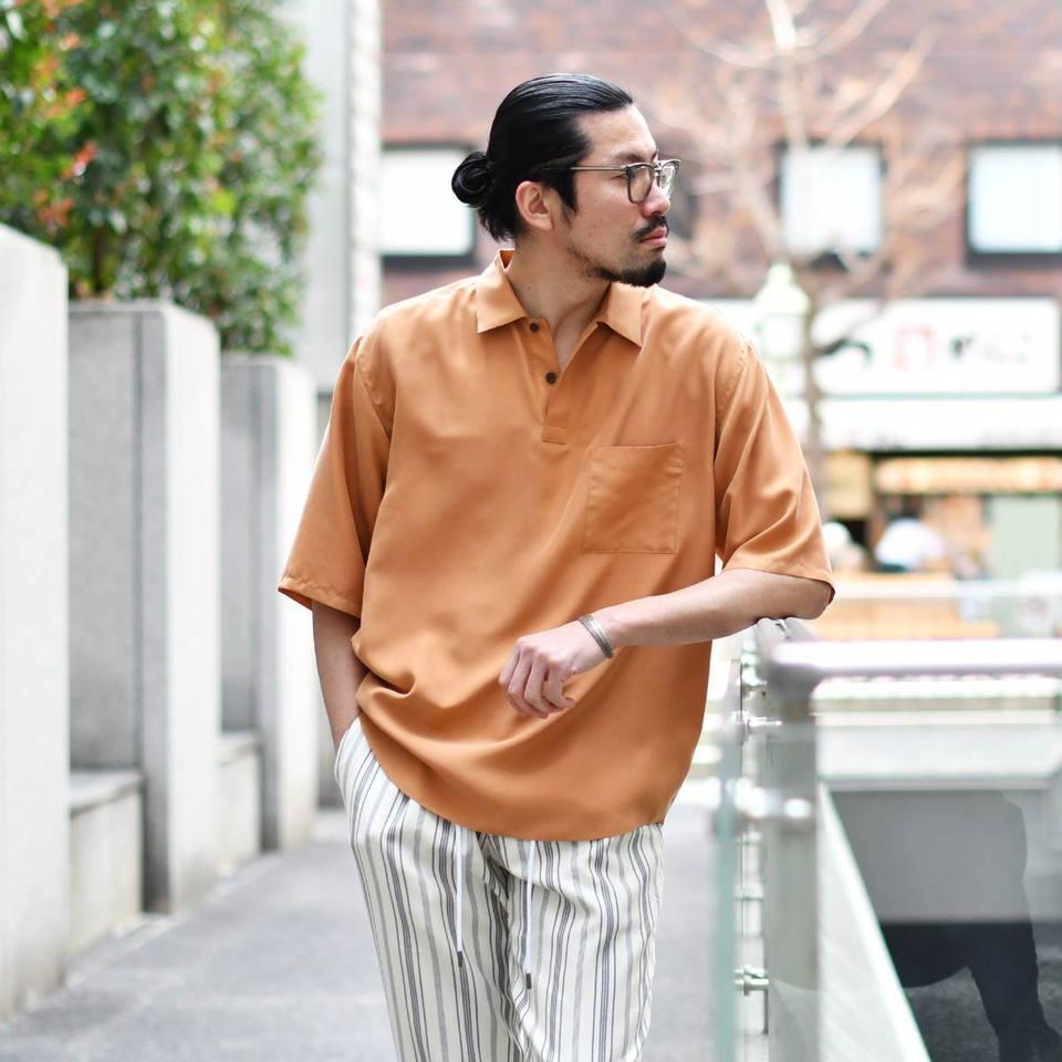 Moncao【モンサオ】半袖プルオーバーシャツ M021108 600 TERACOTTA ウォッシャブルシルク テラコッタ