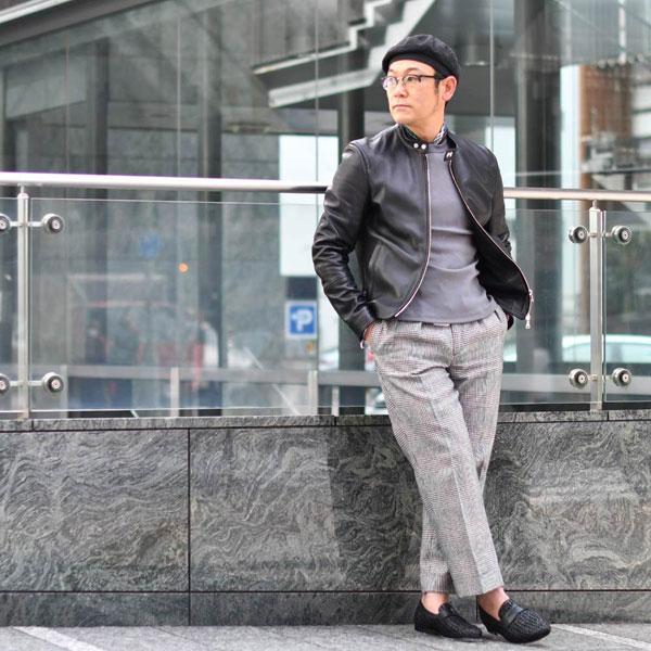 EMMETI【エンメティ】×干場義雅氏コラボモデル H UOMO(アッカ・ウォモ)シングルライダース ラムレザー ブラック