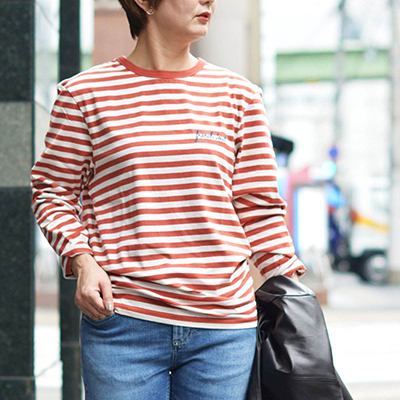 Maison Labiche【メゾン ラビッシュ】長袖ボーダーカットソー FRENCH TOUCH OFF WHITE KETCHUP オフホワイト レッド