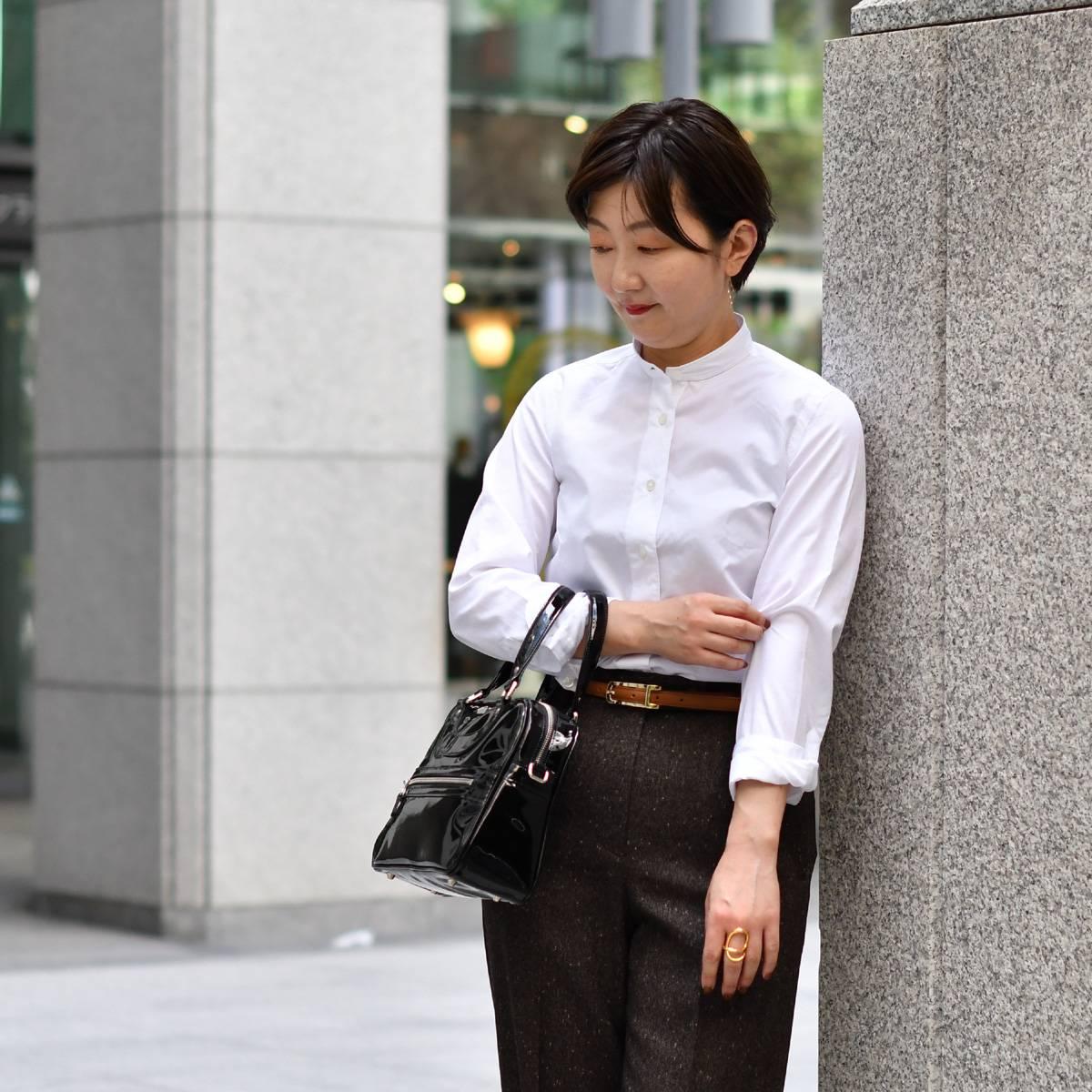 Finamore【フィナモレ】バンドカラーシャツ 140001 01 ZOE PENNY コットン ホワイト