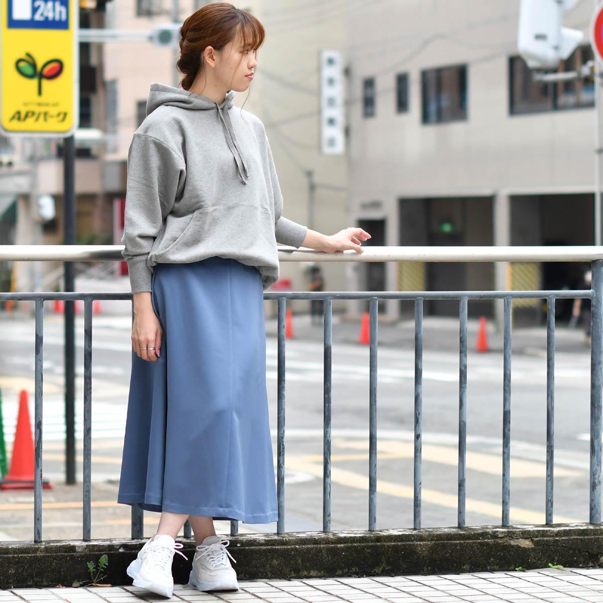 INCOTEX【インコテックス】サテンフレアスカート ANNA J4558 810 ポリエステル ブルー