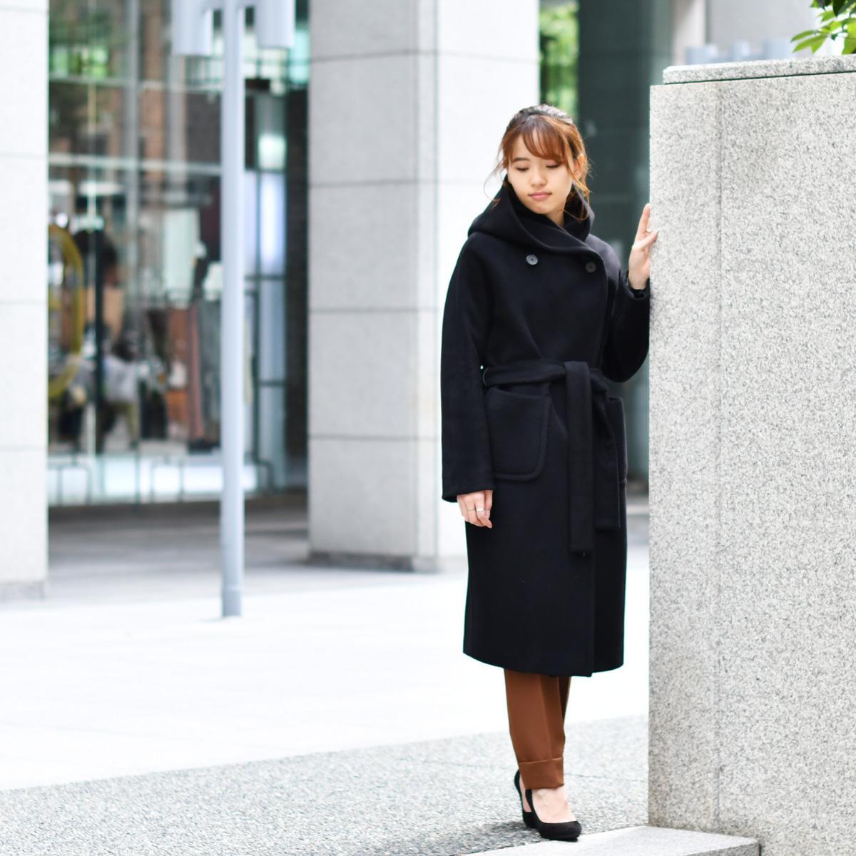 TAGLIATORE【タリアトーレ】フーデッドコート DAISY 35UIC084 N011 ウール モヘヤ ブラック