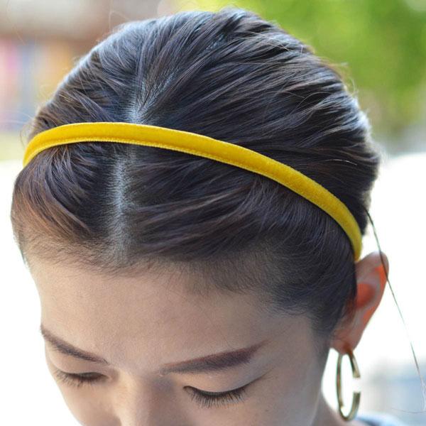 Jennifer Ouellette【ジェニファー オーレット】ベロア細カチューシャ VVSK01 Skinny Velvet ribbon Headband Yellow Gold イエロー
