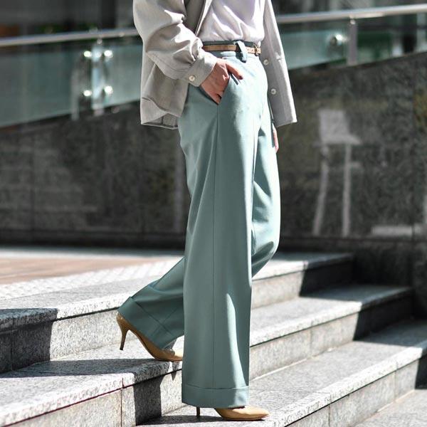 PT TORINO【ピーティートリノ】裾ダブルワイドパンツ AMBRA TO99 0307 ウール ブルー
