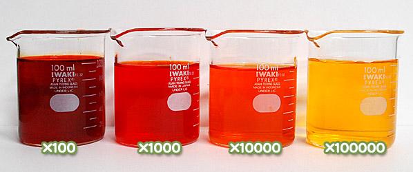 【医薬品、医薬部外品及び化粧品用法定色素】 だいだい色205号 オレンジIIの水溶希釈例(100倍〜10万倍)