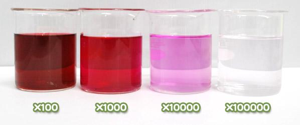 アカダイコン色素・ハイレッドRA-200の水溶希釈例(100倍〜10万倍)