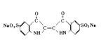 食用色素 - 食用青色2号 インジゴカーミンの構造式