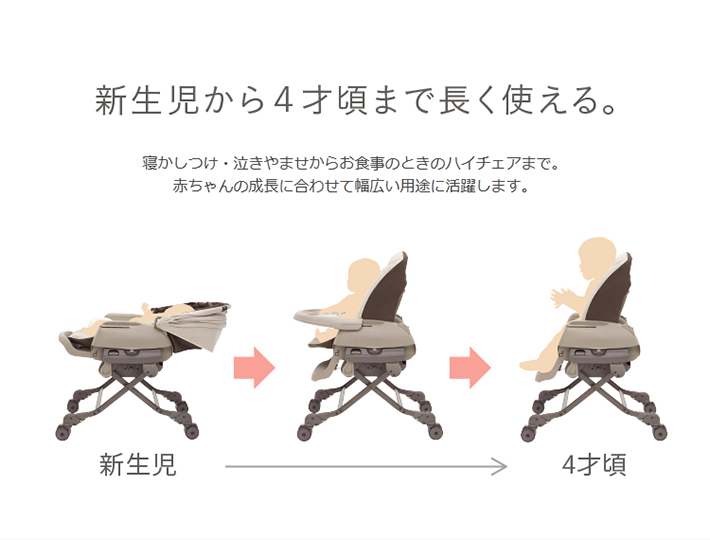 新生児から4才頃まで長く使える。