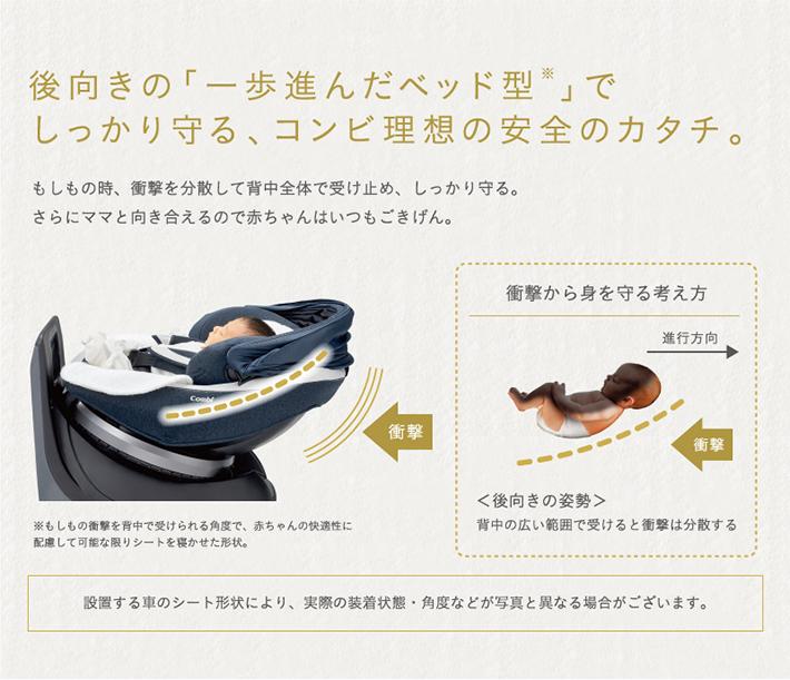 後向きの「一歩進んだベッド型」でしっかり守る、コンビ理想の安全のカタチ。
