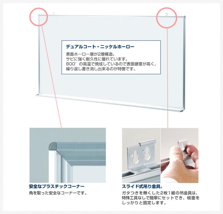 MAJIシリーズの特徴。丸みをつけた安全なプラスチックコーナー(角)、スライド式吊り金具でしっかり固定。