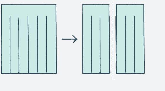 カーテン2分割(1枚のカーテンを2枚にします)