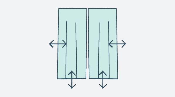 例1|幅・丈どちらも調整(両開きの場合)