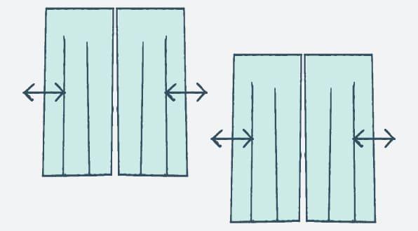 例2|幅・丈のどちらかを調整(両開きの場合)