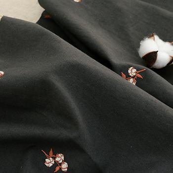 ハーフリネン刺繍生地 綿花
