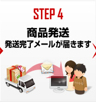 STEP4 商品発送 発送完了メールが届きます