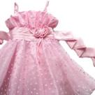 ハートのチュールでラブリーなピンクの子供ドレス