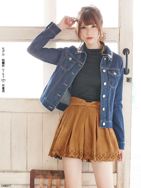 スエード花パンチング裾スカラップキュロットショートパンツ