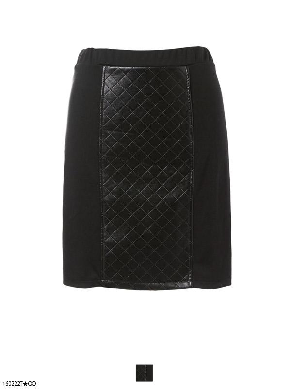 【S〜3L】合皮×ポンチ配色タイトミニ丈スカート