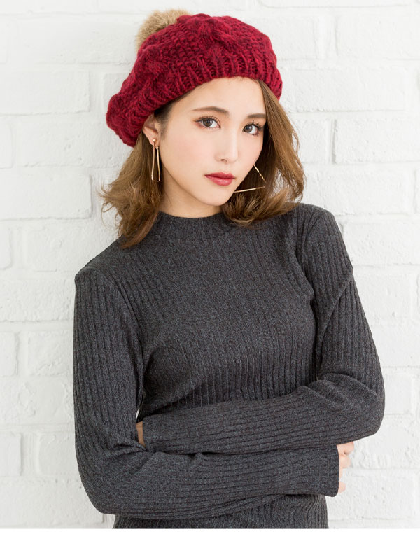 Genuine rabbit fur Pom Pom with acrylic mohair cable knit beret Hat knit  hats beret red black pom poms fur gray winter girly cute fashion cute ladies  knit ... 6cc31c16eb81