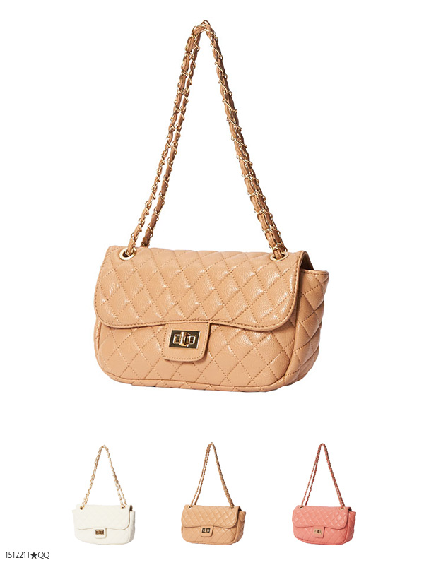 Book Cute Quilted Purse Shoulder Bag Matelasse Chain Gorgeous Formal