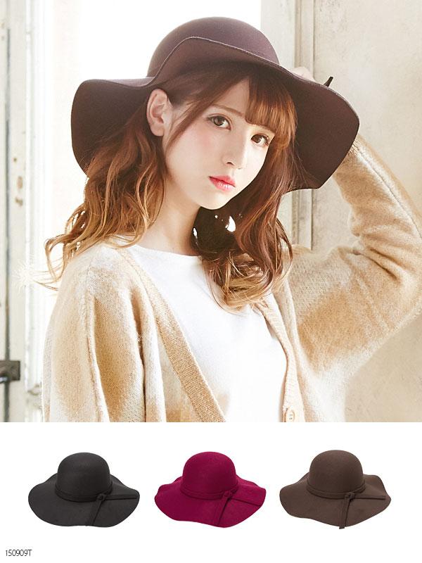 クラシカルなフェルト素材 つば広ガルボハット 女優帽子