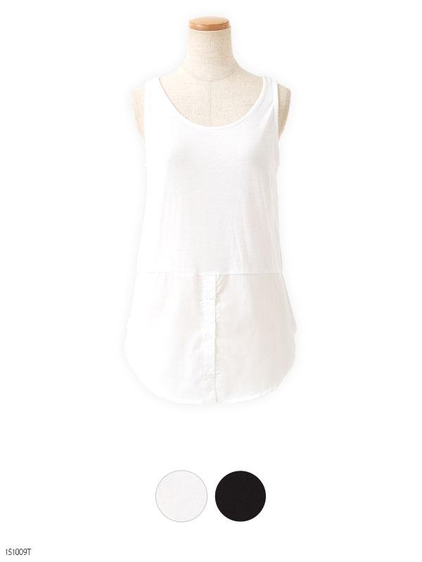裾シャツレイヤードノースリーブカットソー