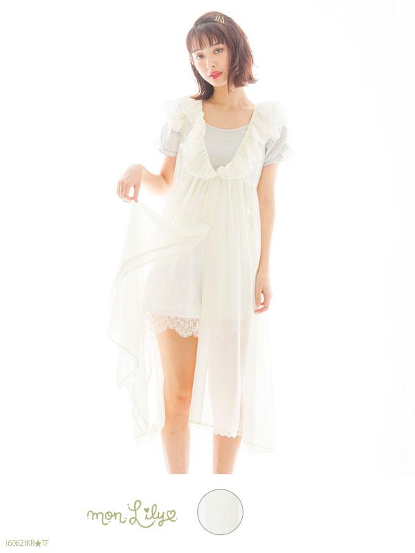 fad296f152a45 Solid orLily pattern long chiffon frill blouse Cardigan spring summer sleeveless  sheer