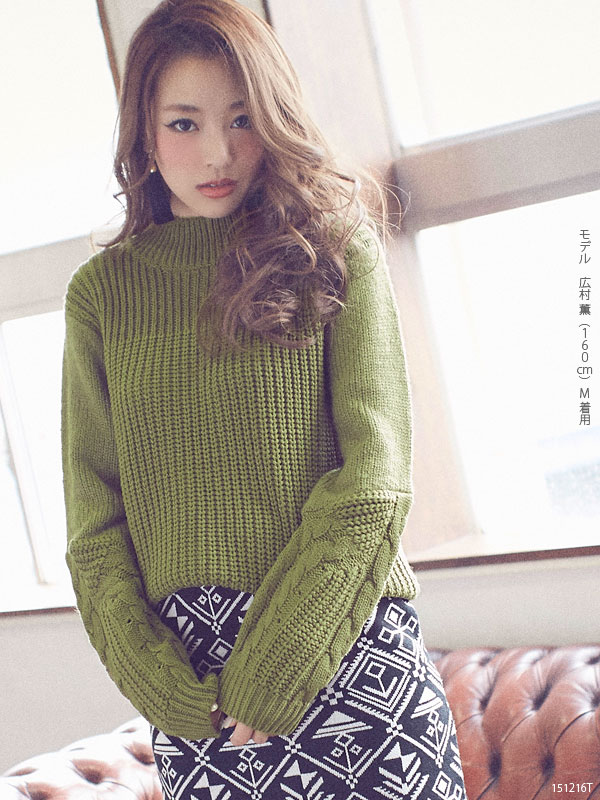 c21d408375f44 Sleeve cable 3 G knit long-sleeved pullover NET tops pullover 3 G cables  fashionable high neck gauge knit thick sweater girly casual winter winter  was warm ...