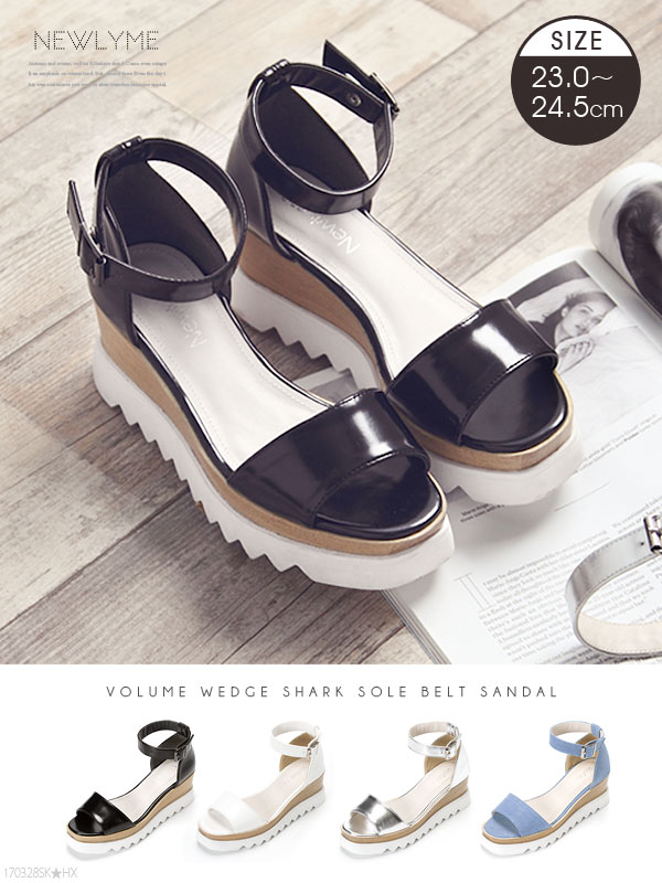 a319fa5f29af Shoes Sandals thick bottom shark sole platform form belt trend ankle strap  walkable casual wedge sole fashionable high resilient simple   black white  silver ...